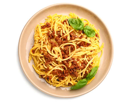 Plate with tasty pasta bolognese on white background Stock Photo