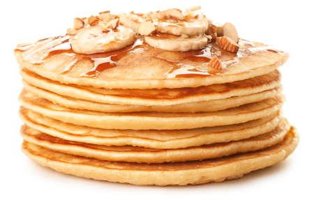 Stack of tasty pancakes on white background Imagens