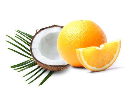 Sweet orange and coconut on white background
