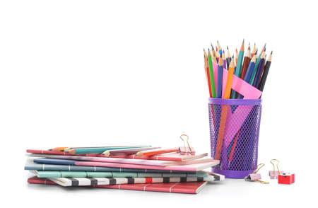 Set of school supplies on white background