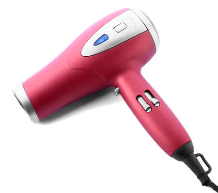 Modern hair dryer on white background