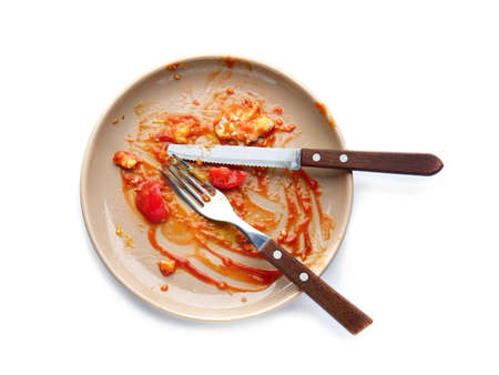 Dirty empty plate with cutlery on white background