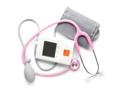 Stethoscope with sphygmomanometer on white background