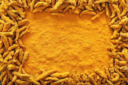 Aromatic turmeric as background, top view
