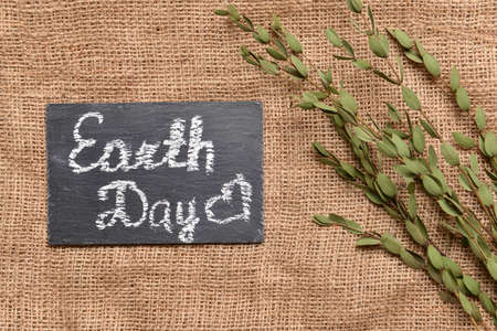 Chalkboard with text EARTH DAY and plant on sackcloth Standard-Bild