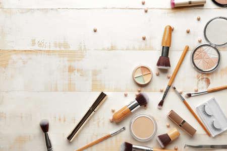 Set of decorative cosmetics on light background Фото со стока