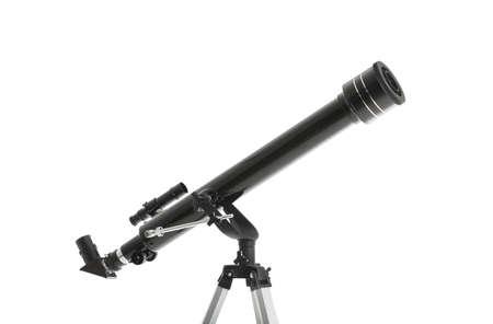 Modern telescope on white background