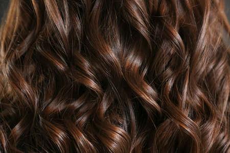 Healthy curly female hair, closeup Stock Photo