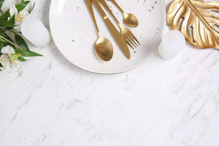 Table setting on white background