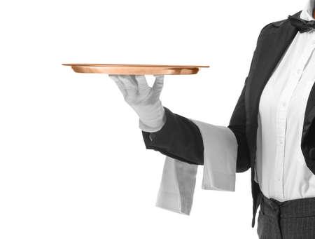 Beautiful female waiter with empty tray on white background