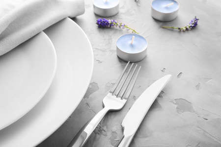 Beautiful table setting with floral decor, closeup
