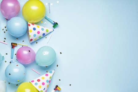 Birthday composition on color background Foto de archivo