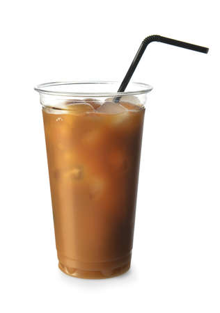 Cup of tasty iced coffee on white background