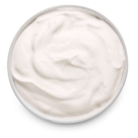 Bowl with tasty sour cream on white background