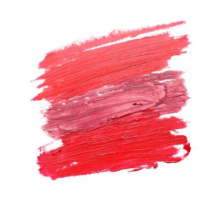 Strokes of bright lipsticks on white background Stockfoto