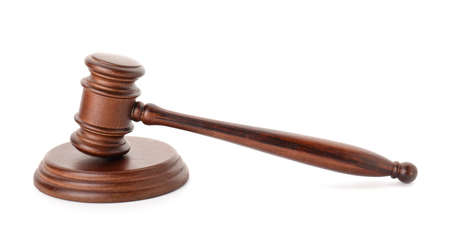 Judge's gavel on white background