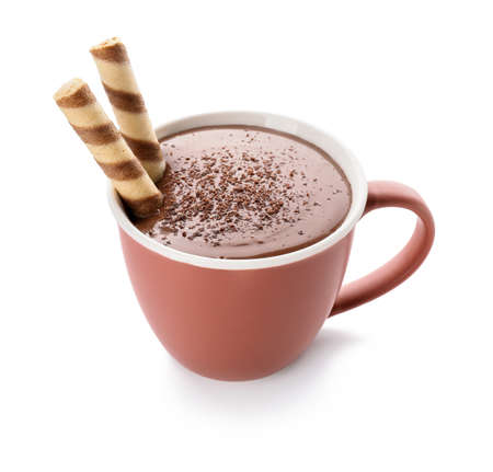 Cup of hot chocolate on white background Stockfoto