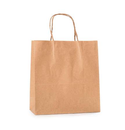 Paper shopping bag on white background Foto de archivo