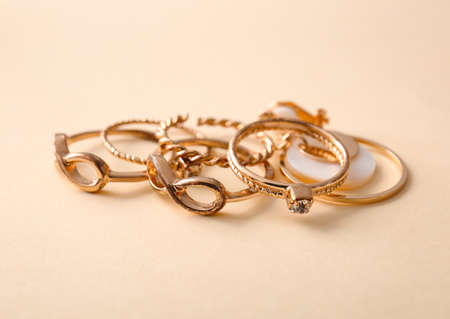 Beautiful rings on color background