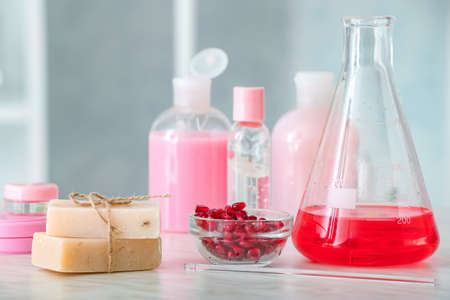 Natural cosmetics on table in laboratory