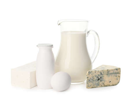 Different dairy products without lactose on white background Foto de archivo