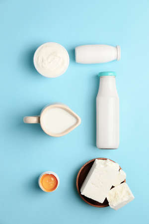 Different dairy products without lactose on color background Archivio Fotografico