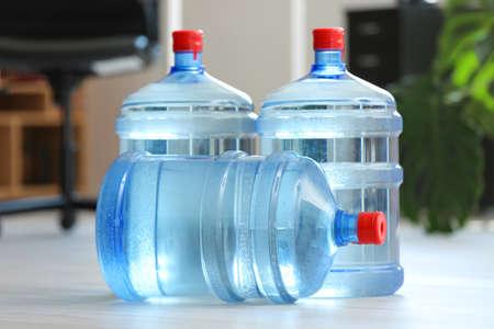 Bottles of fresh water in office