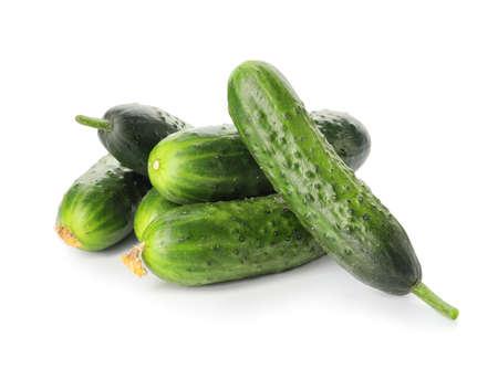 Green cucumbers on white background 免版税图像
