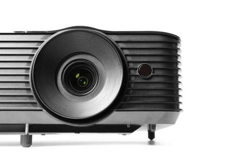 Modern video projector on white background, closeup