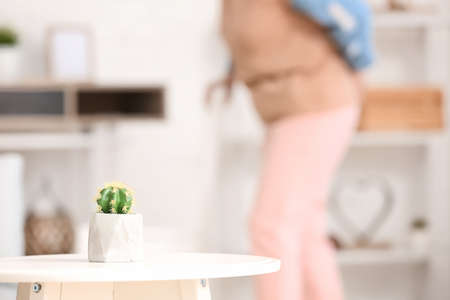 Table with cactus in room. Concept of hemorrhoids