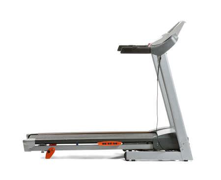 Modern treadmill on white background