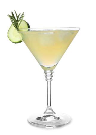 Glass of tasty cucumber martini on white background Stock Photo