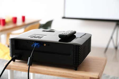 Modern video projector in room
