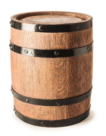 Wooden barrel of wine on white background Imagens