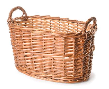 Wicker basket on white background Stock fotó