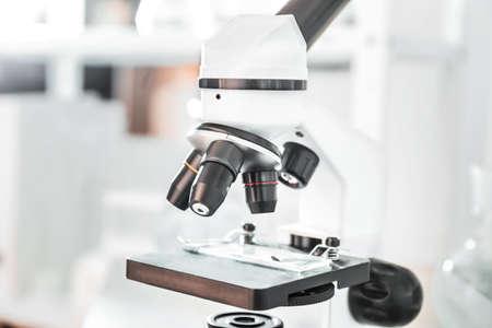 Modern microscope in scientific laboratory