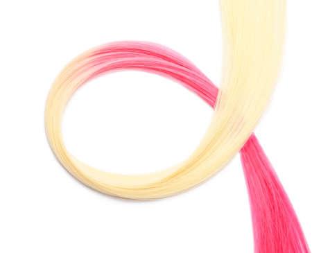 Colorful hair strand on white background Foto de archivo