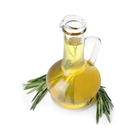 Bottle of rosemary oil on white background