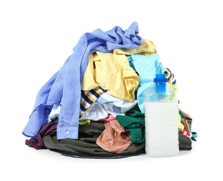 Heap of dirty clothes on white background