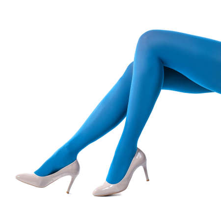 Beautiful young woman in tights on white background Stock Photo