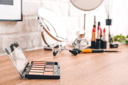 Decorative cosmetics on dressing table