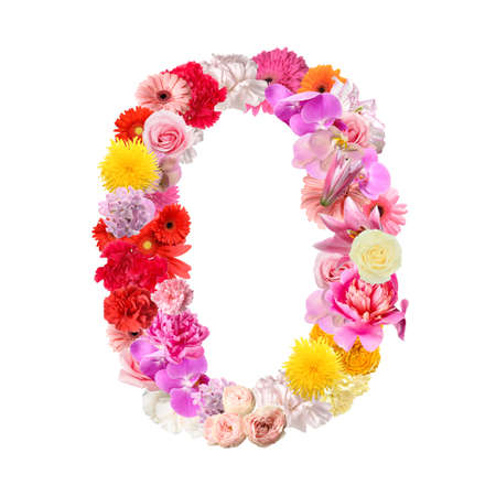 Figure made of beautiful flowers on white background Imagens