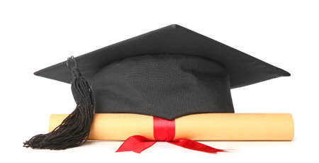 Graduation hat and diploma on white background Stock fotó