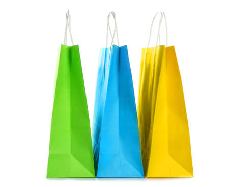 Paper shopping bags on white background Archivio Fotografico
