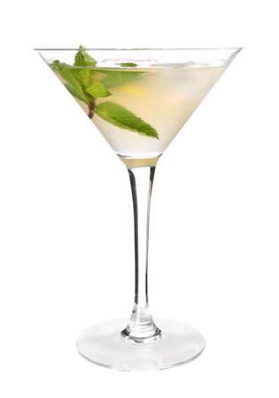 Glass of tasty martini cocktail on white background Stock Photo