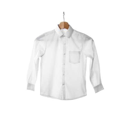 Hanger with stylish school uniform on white background Stock fotó