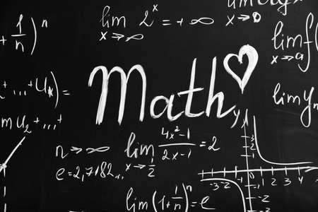Word MATH on school blackboard