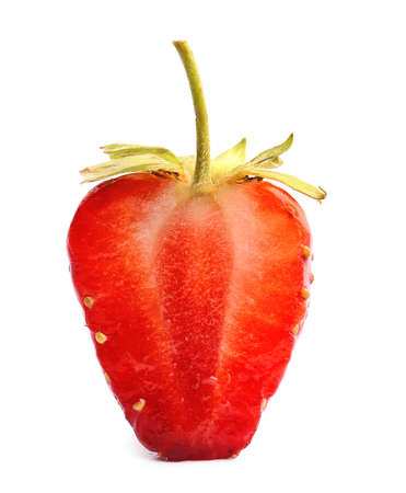 Fresh cut ripe strawberry on white background