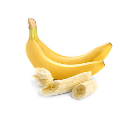 Ripe bananas on white background