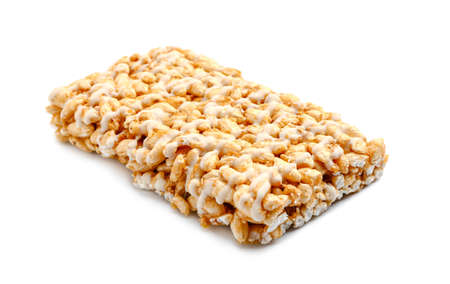 Crispy rice bar on white background